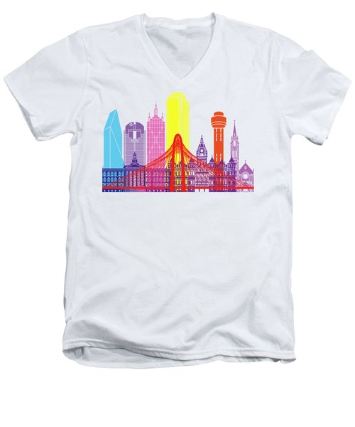 Dallas Skyline Pop Men's V-Neck T-Shirt by Pablo Romero