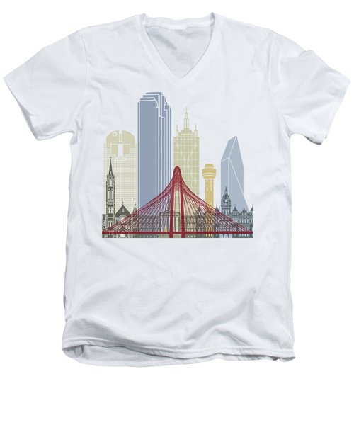 Dallas Skyline Poster Men's V-Neck T-Shirt by Pablo Romero