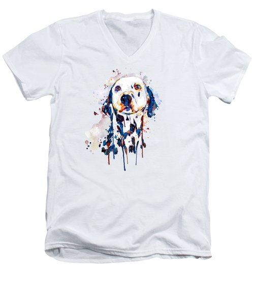 Dalmatian Head Men's V-Neck T-Shirt by Marian Voicu