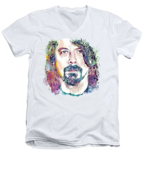 Dave Grohl Close-up Men's V-Neck T-Shirt by Marian Voicu