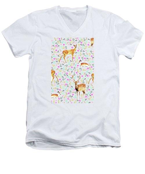 Deers Men's V-Neck T-Shirt by Uma Gokhale