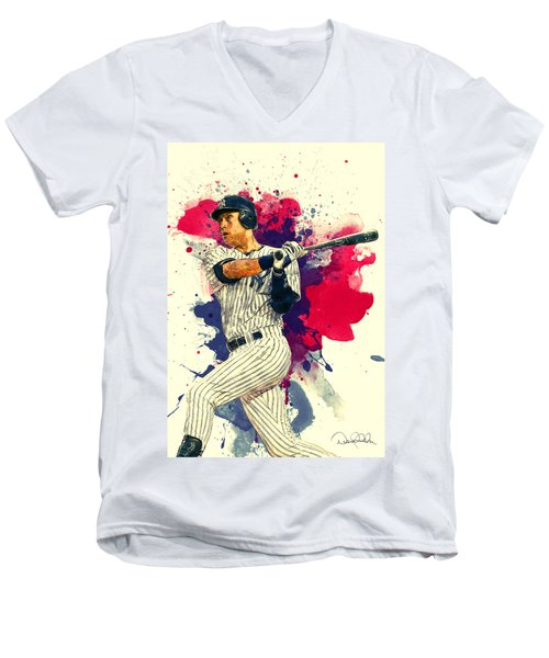Derek Jeter Men's V-Neck T-Shirt by Taylan Apukovska