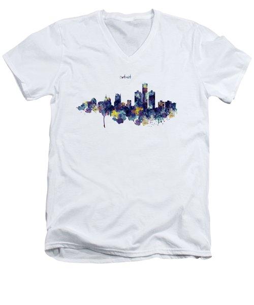 Detroit Skyline Silhouette Men's V-Neck T-Shirt by Marian Voicu