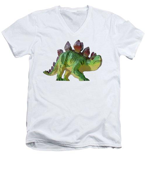 Dino Stegosaurus Men's V-Neck T-Shirt by Miroslav Nemecek
