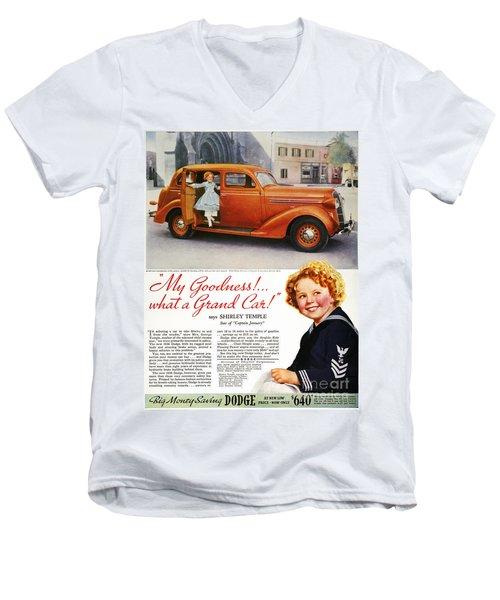 Dodge Automobile Ad, 1936 Men's V-Neck T-Shirt by Granger
