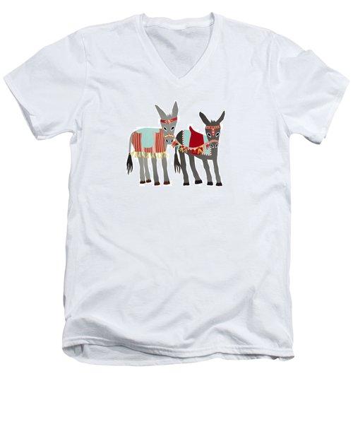 Donkeys Men's V-Neck T-Shirt by Isoebl Barber