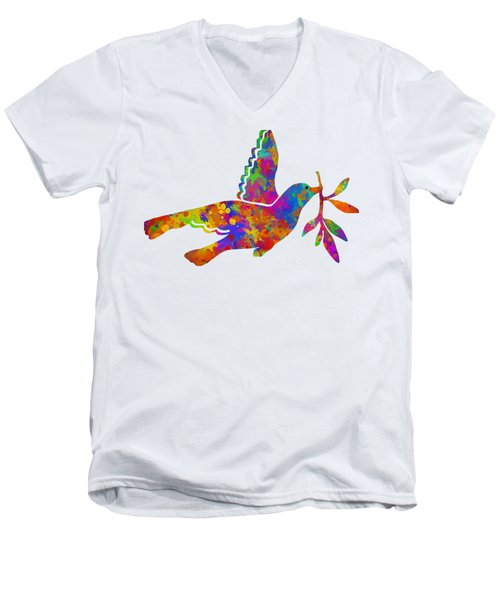 Dove With Olive Branch Men's V-Neck T-Shirt by Christina Rollo