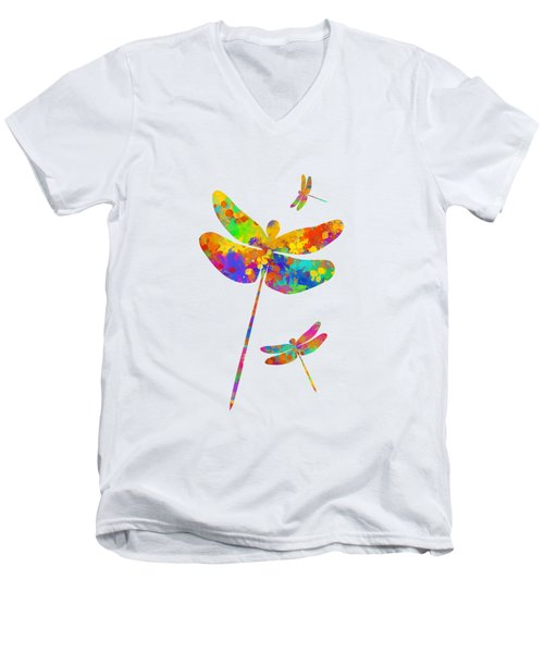 Dragonfly Watercolor Art Men's V-Neck T-Shirt by Christina Rollo