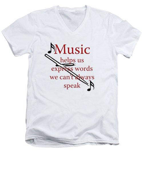 Drum Music Helps Us Express Words Men's V-Neck T-Shirt by M K  Miller