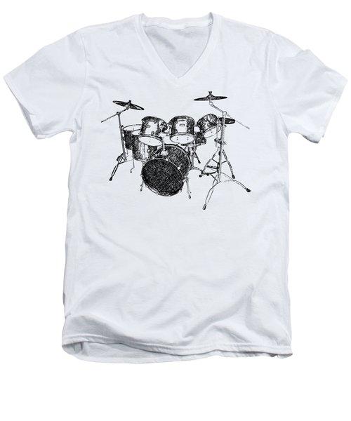 Drums Men's V-Neck T-Shirt by Birgitta