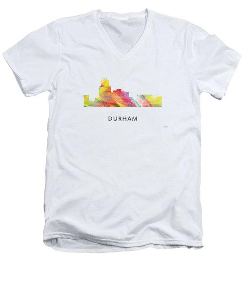 Durham North Carolina Skyline Men's V-Neck T-Shirt by Marlene Watson
