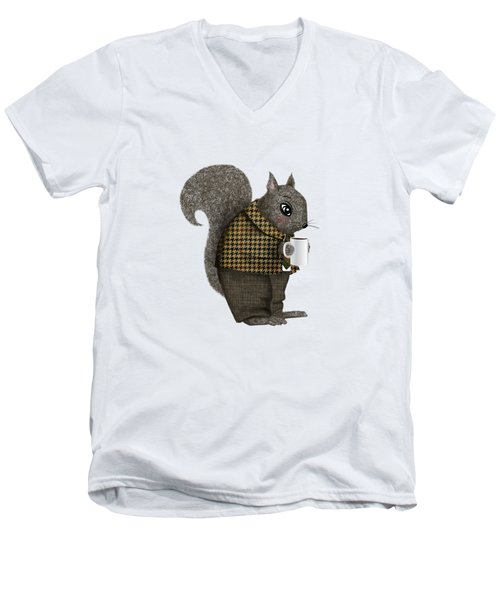 Early Morning For Mister Squirrel Men's V-Neck T-Shirt by Little Bunny Sunshine