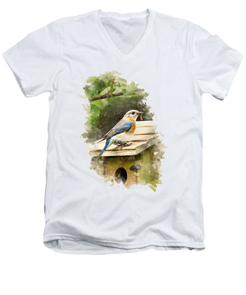 Eastern Bluebird Watercolor Art Men's V-Neck T-Shirt by Christina Rollo