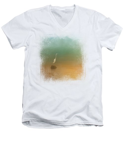 Egret At Sea Men's V-Neck T-Shirt by Jai Johnson