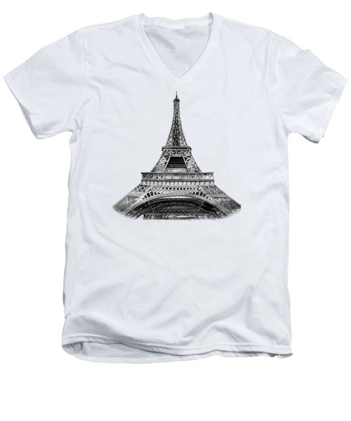 Eiffel Tower Design Men's V-Neck T-Shirt by Irina Sztukowski