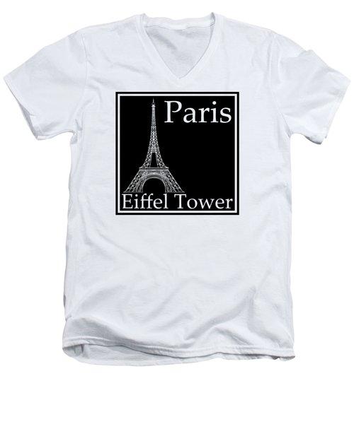 Eiffel Tower In Black Men's V-Neck T-Shirt by Custom Home Fashions