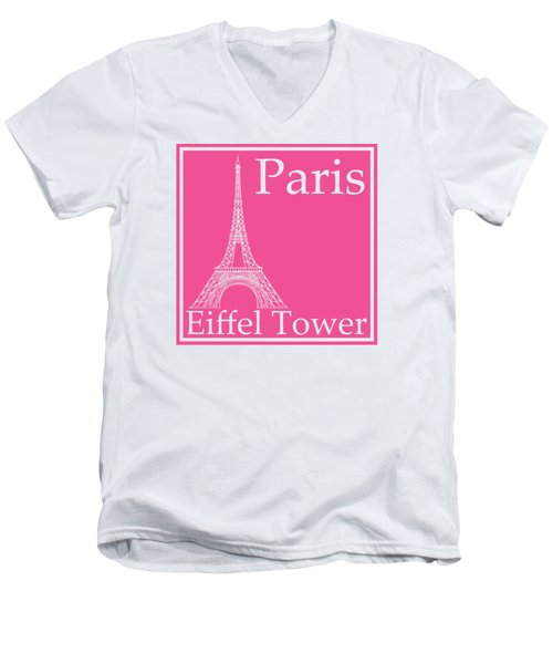 Eiffel Tower In French Pink Men's V-Neck T-Shirt by Custom Home Fashions