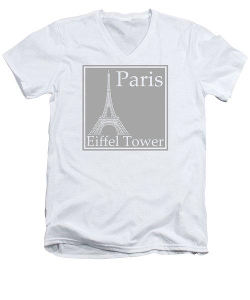 Eiffel Tower In Gray Men's V-Neck T-Shirt by Custom Home Fashions