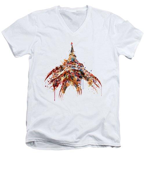Eiffel Tower Watercolor Men's V-Neck T-Shirt by Marian Voicu