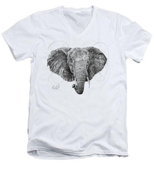 Elephant Men's V-Neck T-Shirt by Michael Volpicelli