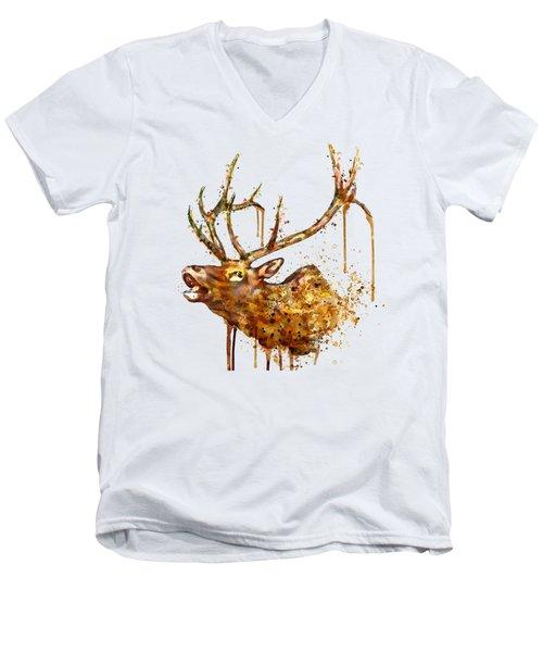 Elk In Watercolor Men's V-Neck T-Shirt by Marian Voicu