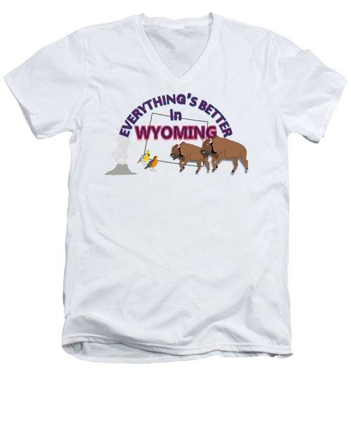 Everthing's Better In Wyoming Men's V-Neck T-Shirt by Pharris Art