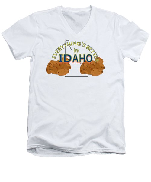 Everything's Better In Idaho Men's V-Neck T-Shirt by Pharris Art