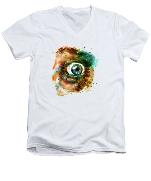 Fear Eye Watercolor Men's V-Neck T-Shirt by Marian Voicu