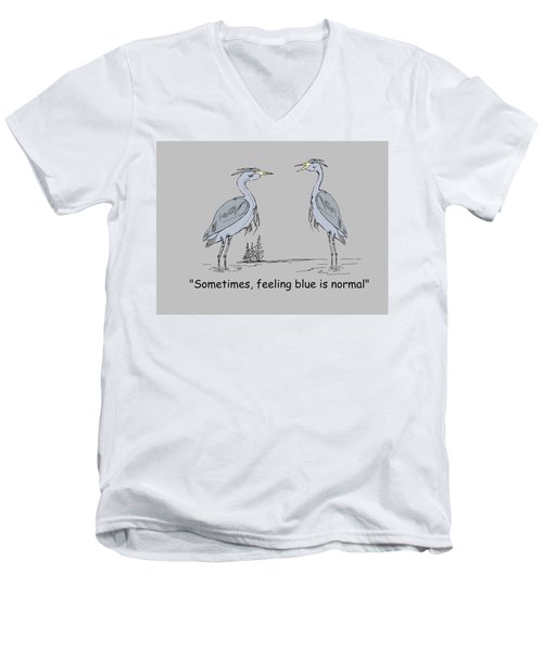 Feeling Blue Men's V-Neck T-Shirt by Levi Soucy