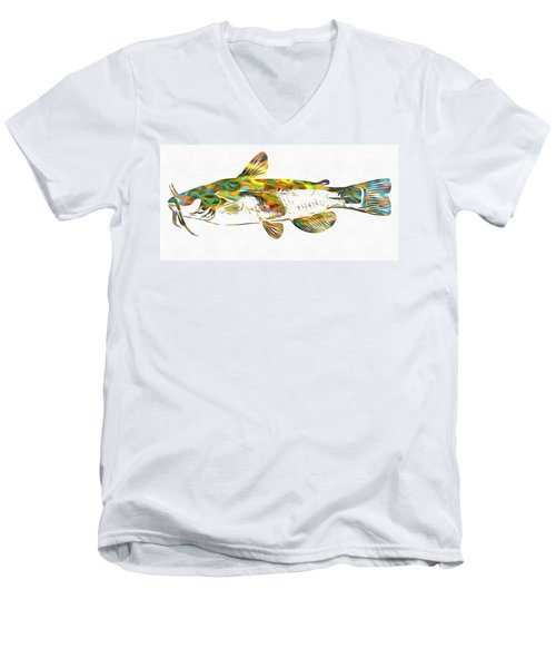 Fish Art Catfish Men's V-Neck T-Shirt by Dan Sproul