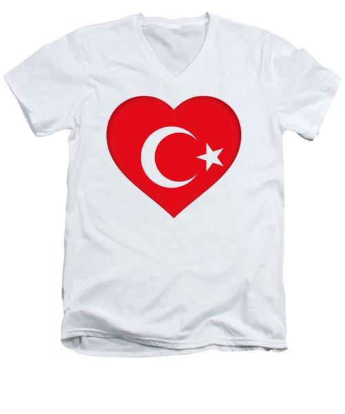 Flag Of Turkey Heart Men's V-Neck T-Shirt by Roy Pedersen