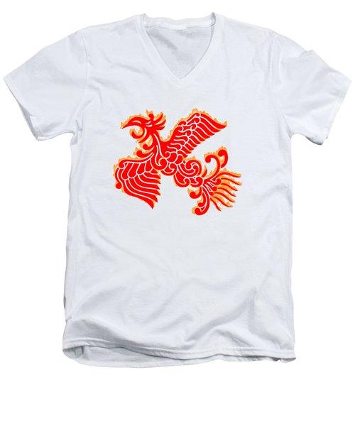 Flaming Red Phoenix Rising Men's V-Neck T-Shirt by Nathan Beardsley