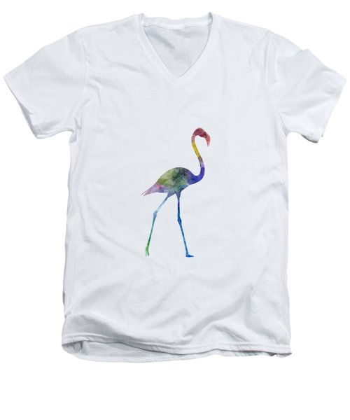Flamingo 01 In Watercolor Men's V-Neck T-Shirt by Pablo Romero