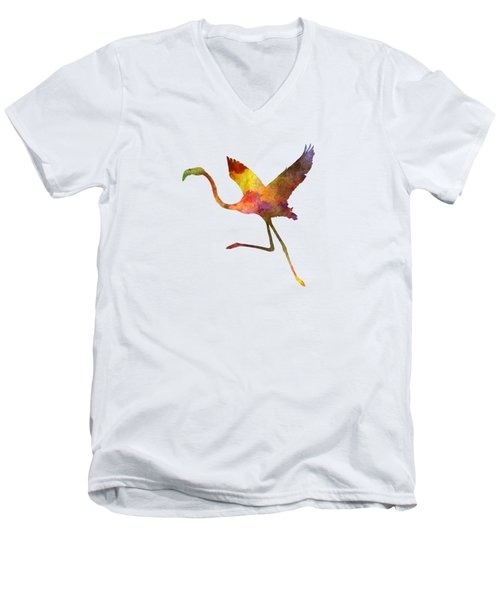 Flamingo 02 In Watercolor Men's V-Neck T-Shirt by Pablo Romero