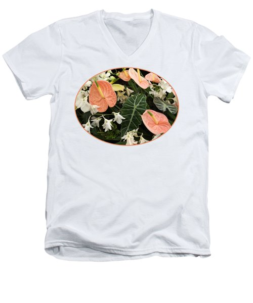 Flamingo Flowers And Orchids Men's V-Neck T-Shirt by Gill Billington