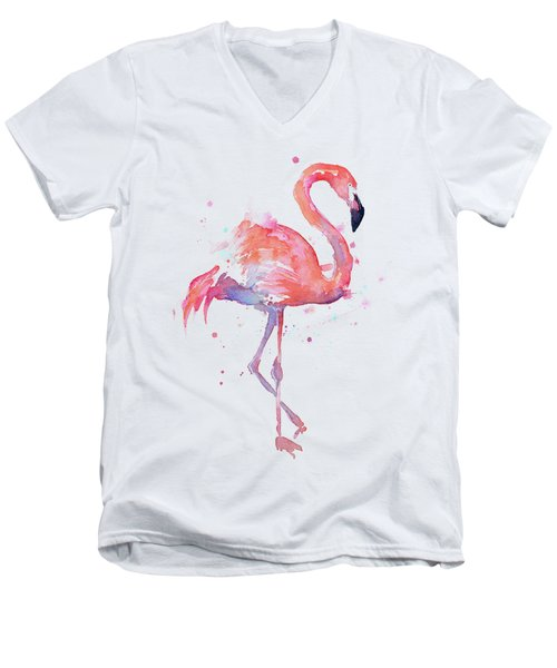 Flamingo Watercolor Facing Right Men's V-Neck T-Shirt by Olga Shvartsur