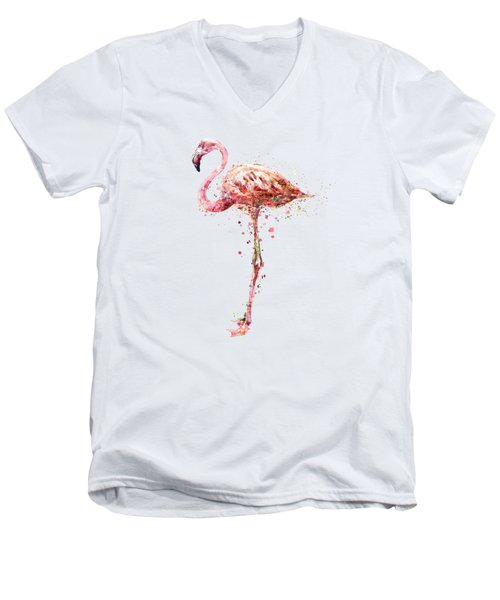 Flamingo Watercolor Painting Men's V-Neck T-Shirt by Marian Voicu