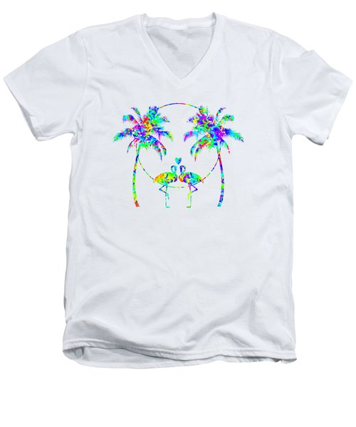 Flamingos In Love - Splatter Art Men's V-Neck T-Shirt by SharaLee Art