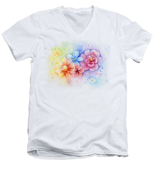 Flower Power Watercolor Men's V-Neck T-Shirt by Olga Shvartsur