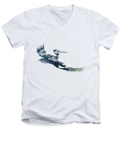 Flying Pelican Men's V-Neck T-Shirt by Diana Van
