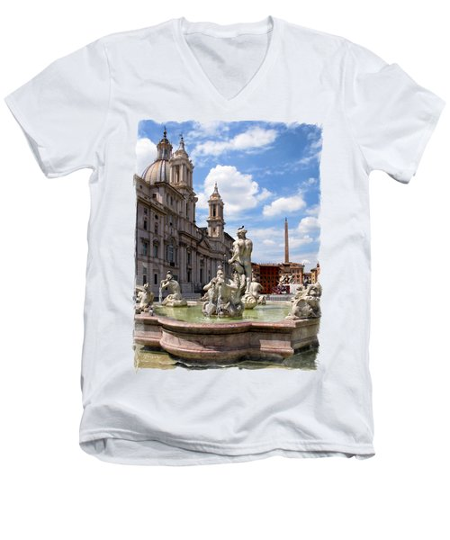 Fontana Del Moro.rome Men's V-Neck T-Shirt by Jennie Breeze
