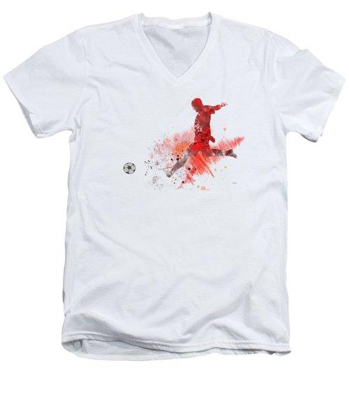 Football Player Men's V-Neck T-Shirt by Marlene Watson