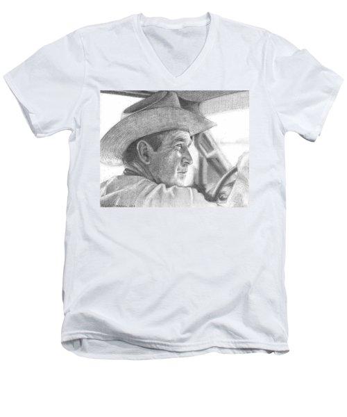 Former Pres. George W. Bush Wearing A Cowboy Hat Men's V-Neck T-Shirt by Michelle Flanagan