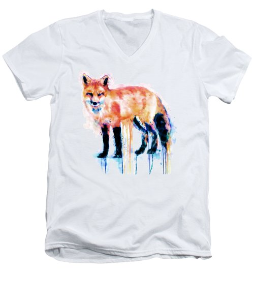 Fox  Men's V-Neck T-Shirt by Marian Voicu