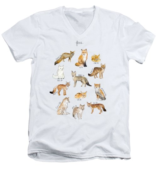 Foxes Men's V-Neck T-Shirt by Amy Hamilton