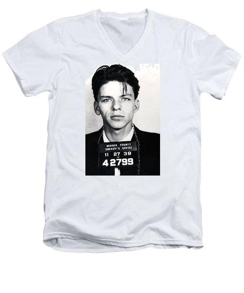 Frank Sinatra Mug Shot Vertical Men's V-Neck T-Shirt by Tony Rubino