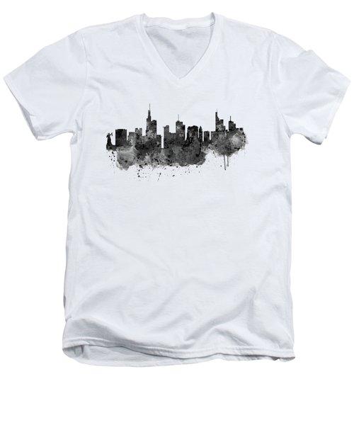 Frankfurt Black And White Skyline Men's V-Neck T-Shirt by Marian Voicu
