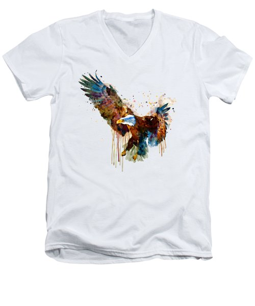 Free And Deadly Eagle Men's V-Neck T-Shirt by Marian Voicu
