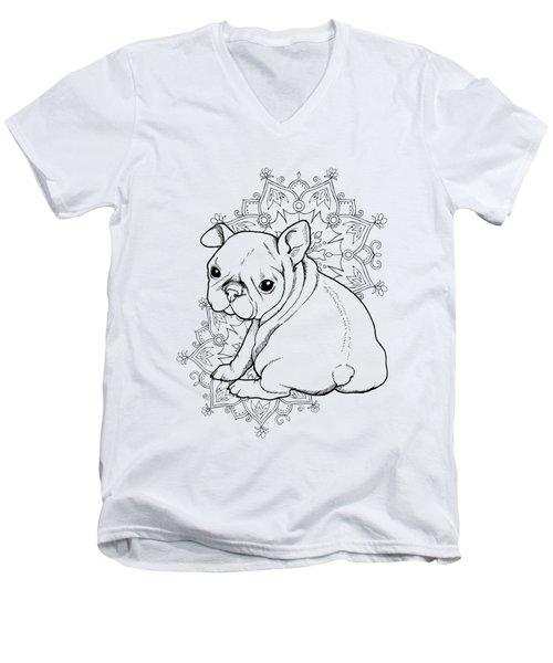French Bulldog Puppy Men's V-Neck T-Shirt by Cindy Elsharouni