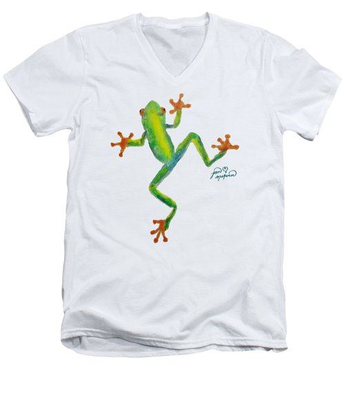 Red Eyed Tree Frog By Jan Marvin Men's V-Neck T-Shirt by Jan Marvin